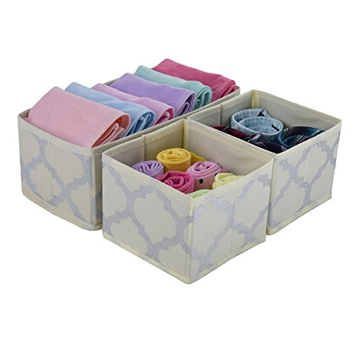 Fabric Drawer Organizer Dresser Divider, foldable Storage Bins Boxes Cloth Closet Nursery Baby Baskets for Underwear,Socks,Bras,Tights,Ties Set of 3 Beige