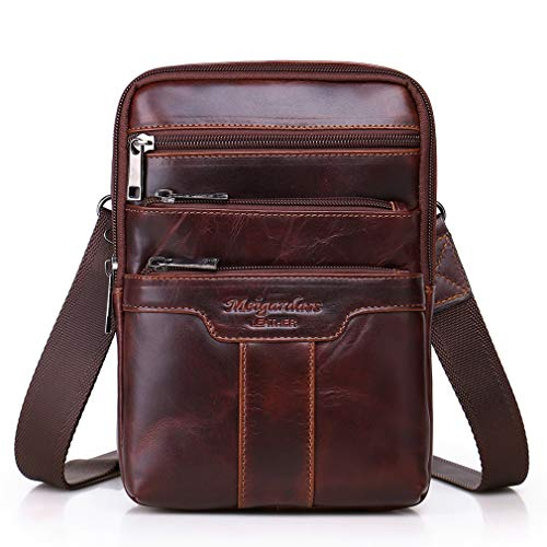 (Hebetag Vintage Leather Shoulder Messenger Bag for Men Travel Business Crossbody Pack Wallet Satchel Sling Chest Bags Red Brown)