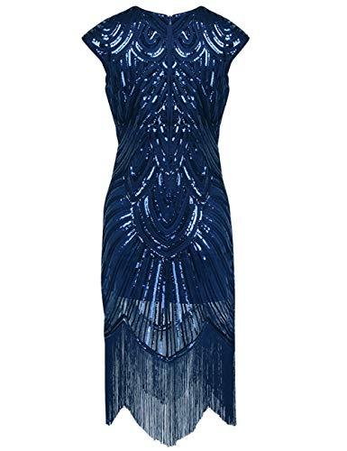Gatsby Navy Dasior Frange Blu Lustrini Delle Paletta Gliter 1920 Midi Retrò Abito Flapper Partito Donne wpz6w