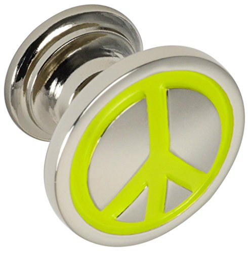 #1887 CKP Brand Peace Sign Knob, Polished Nickel / Lime Green - 10 Pack