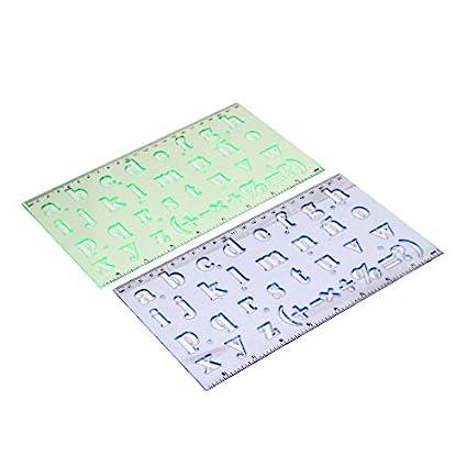 eDealMax hueco plástico fuera del diseño de letras de medición Dibujo Regla, 2 Piezas (