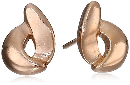 Silver Circle Sterling Earrings Open - Sterling Silver Rose Gold-Plated Open Circle Swirl Stud Earrings