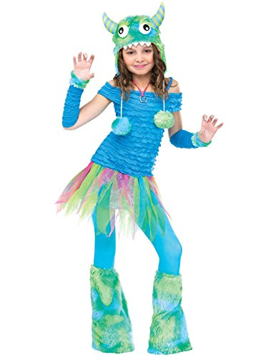 Monster Inc Girl (Fun World girls Big Girls' Blue Beastie Monster Costume Large (12-14))