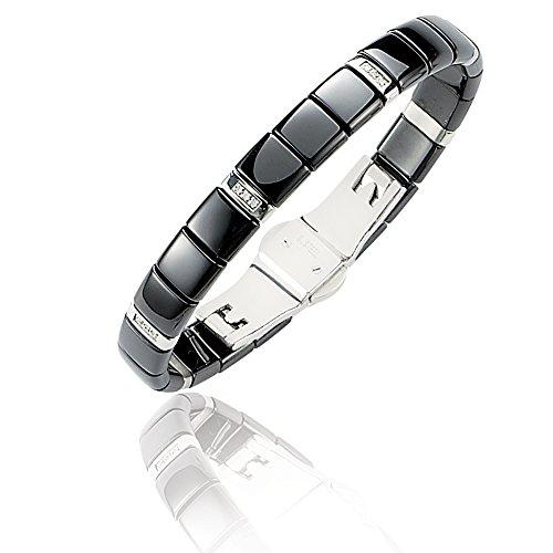 SF Bijoux - Bracelet rigide or jaune, acier céramique et diamant (0,06 carat) - Noir