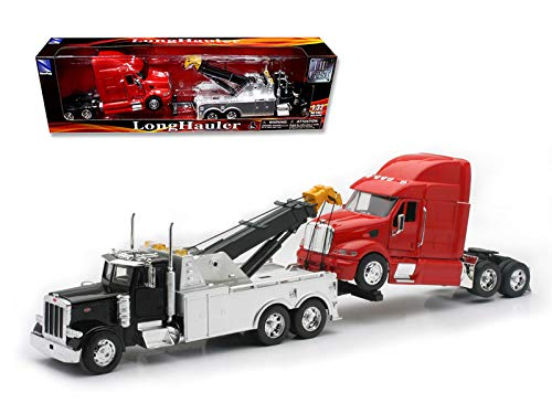 StarSun Depot New Peterbilt 379 Tow Truck Black with Red Peterbilt Tractor Set 1/32 Diecast Model by New Ray