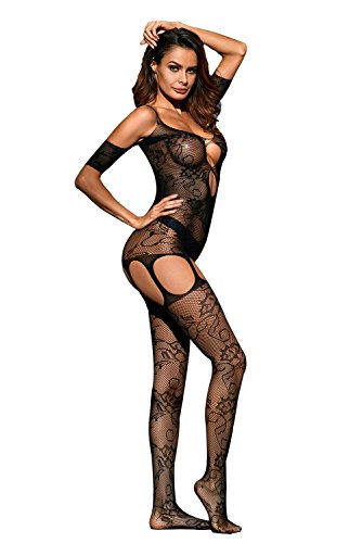 Gludear Women's Cutout Bare Shoulder Open Crotch Lace Bodystocking,Black,One (Cut Out Bodystocking)