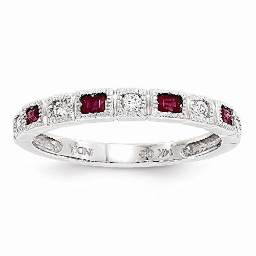 JewelrySuperMart Collection 14k White Gold 1/10 CT Round Diamond & 0.20 CT Baguette Ruby Ring