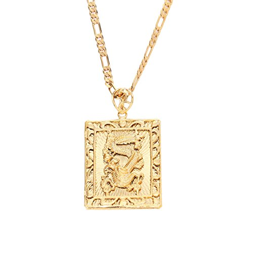 24K Gold Plating Chinese Zodiac Dragon Pendant Hiphop Rock Necklace Jewelry