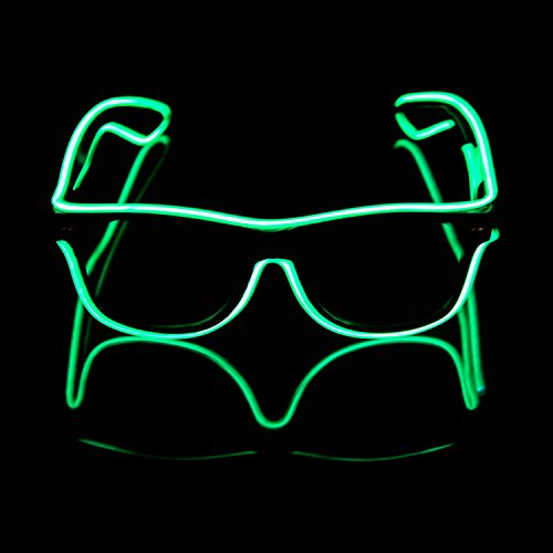 iChase Light Up Flashing LED Glasses ,EL Wire Fashion Neon Electroluminescent Flashing LED Sunglasses with Battery Case Controller for Halloween Christmas Birthday Party Favor - Blinking Sunglasses