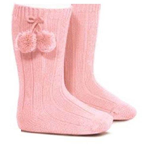 Calcetines acanalados rosas a la altura de la rodilla y con pompones para niñas rosa rosa Talla:6-12 meses: Amazon.es: Bebé