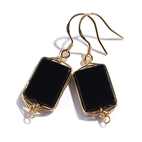 (Scutum Craft Natural Stone Dangle Drop Earrings with Gold Plated Wire Wrap and 925 Sterling Silver Hook Jewelry for Women (Black Onyx Square 14mm) )