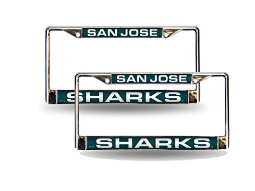 (Rico San Jose Sharks NHL Chrome Metal (2) Laser Cut License Plate Frame Set)