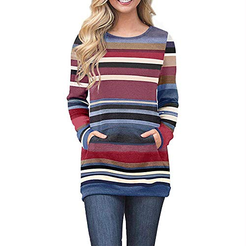 Sherostore ♡ Women Striped Round Neck Casual Loose Long Sleeve Sweatshirt T-Shirts Tops Blouse with Pocket Blue