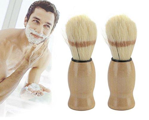 Fashionclubs 2Pcs Professional Barber Salon Shaving Razor Brush With Wood Handle