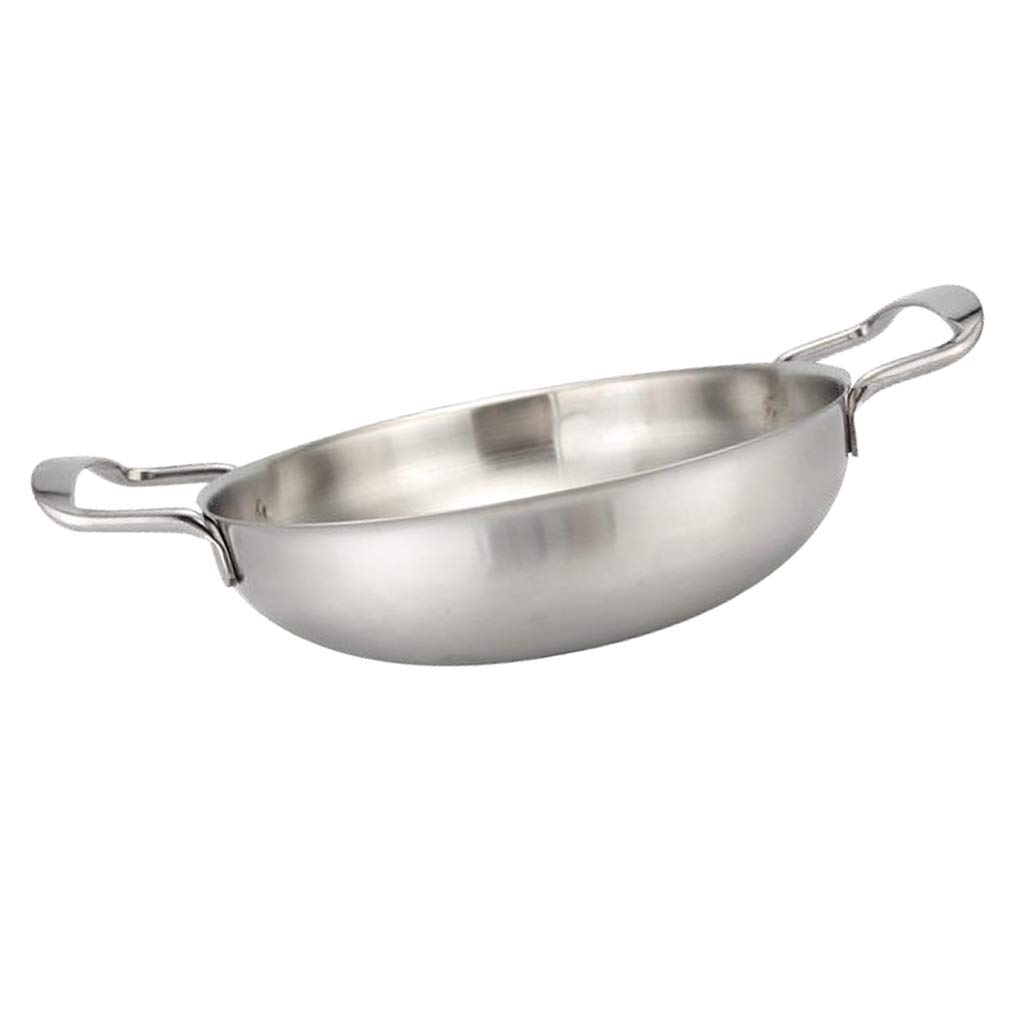 18cm 20cm 22cm Polished Paella Pan Stainless Steel Stockpot Cooking Pot - Silver 20cm by LOVIVER