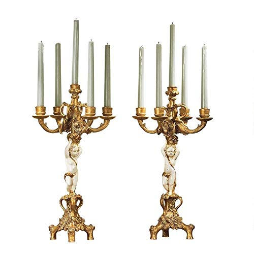 Adumly Gold & Ivory French Baroque Ornate Sculpted Cherub Candelabra Set of 2