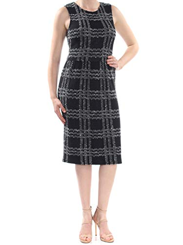 St. John Womens New 1054 Black Textured Jewel Neck Sleeveless Sheath Dress 8 B+B