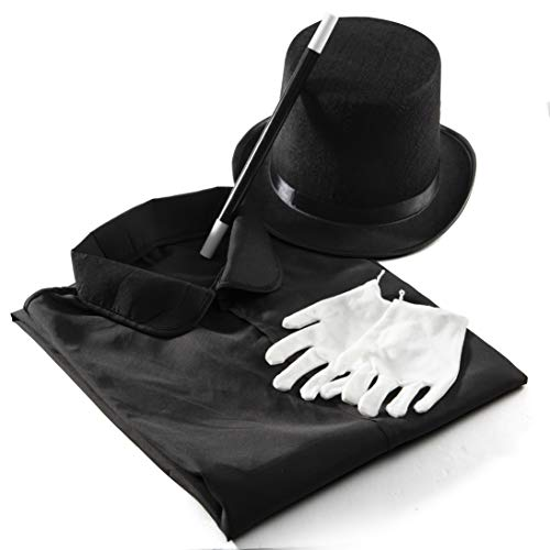 Child's Magician Halloween Costumes (Prextex Magician Costume for Kids - Kiddie Role Play Halloween Magician Dress Up Set, Top Hat, Cape, Magic Wand and White)