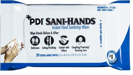 PDI Healthcare P71520 Sani-Hands Instant Hand Sanitizing Wipes, 5.5'' x 8.4'' Size (Pack of 960)