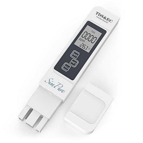 SimPure TDS Meter Digital Water Tester, TDS Meter, EC Meter & Temperature Meter 3 in 1, with ATC,Ideal Water Test Meter for Drinking Water, Aquariums (Inline Ph Tester)