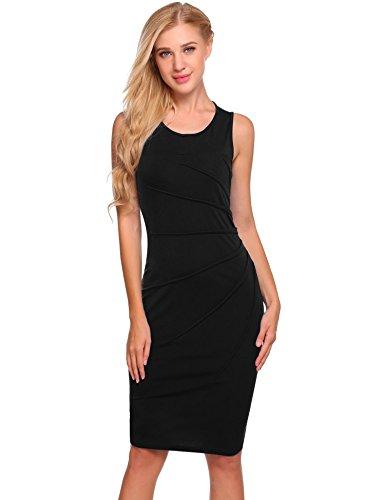Burlady Women's Starburst Side Rouche Sheath Dress with Sleevless Black S
