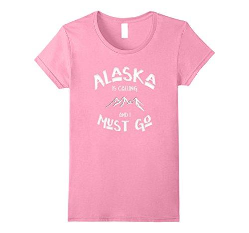 [Womens ALASKA is Calling and I Must Go Mountains Design Tee Shirt Medium Pink] (Alaska Womens Pink T-shirt)