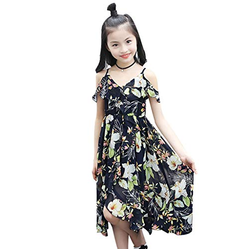 (Beach Dress for Girl, Kids Children Floral Ruffles Off Shoulder Strapless Dress vintagemia Short-Sleeved Ruffled Holiday Skirt lkoezi Navy)