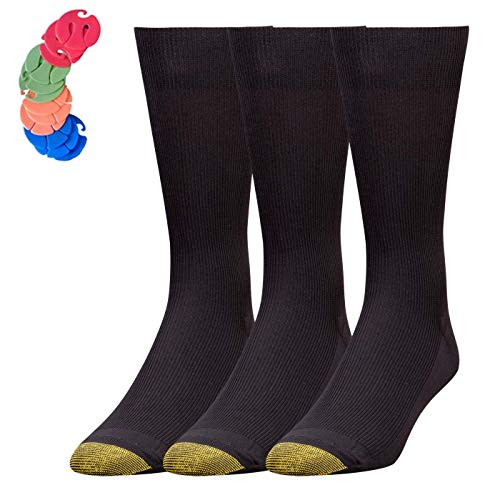 - Gold Toe Men's Metropolitan Dress Sock, 6-Pack / 6 Free Sock Clips Included (Black)