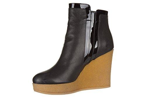 Hogan Damen Leder Stiefeletten Stiefel Ankle Boots h 276 Schwarz