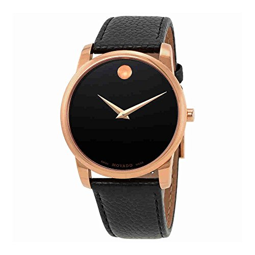 Movado Men's 40mm Black Leather Band Rose Gold Plated Case Sapphire Crystal Swiss Quartz Watch 0607060