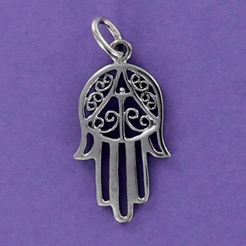 (Pendant Jewelry Making Hamsa Charm Sterling Silver for Bracelet Open Filigree Judaica Eye Hand Five)