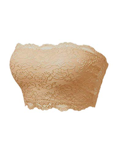 TL Women's Full Floral Lace Strapless Seamless Stretchy Bandeau Tube Bra Top Nude ()