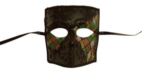 Medusa Venetian Masquerade Mask (Green Mix Checker; Unisex One Size) ()