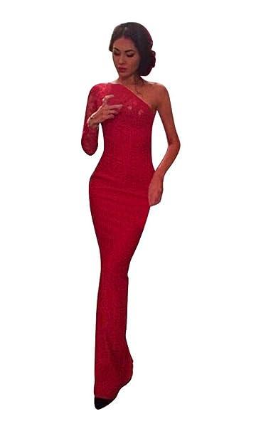Mela Proibita Sexi vestito ROSSO abito lungo aderente monospalla pizzo  cerimonia sera elegante - Rosso bbc14955dc3