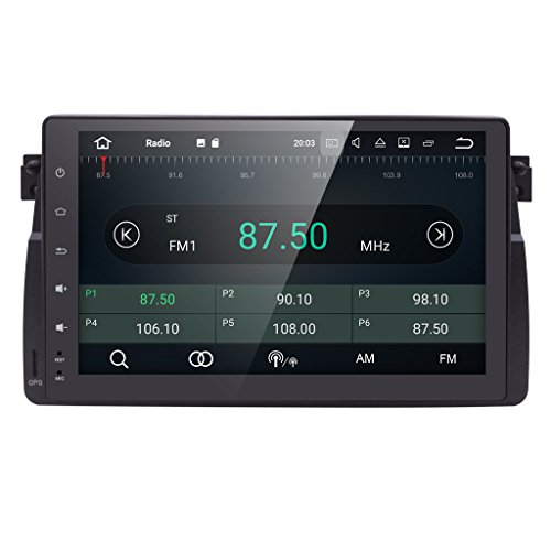hizpo Android 7.1 Single Din 9 Inch Car Radio in Dush Stereo Player GPS Multimedia Bluetooth 4.0 WiFi RDS Mirrorlink DAB+ DVR DTV OBD2 Sub Volume Control Fit for BMW E46 3 Series 1998-2005
