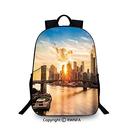 Motifs School Bag Travel Daypack,Cityscape of Brooklyn Bridge and Lower Manhattan Hudson River Center of Fashion Art and Culture Travel College School Bags Multi