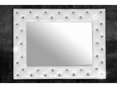 miroir capitonn strass simili cuir blanc 80x60 cm couleur argent taille 170x60 cm amazonfr cuisine maison - Miroir Mural Blanc Simili Cuir Strass