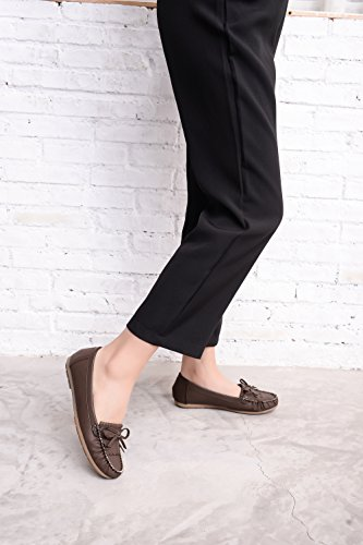 Brown Driving Loafer Shoes Flats Slip Walking Casual Womens Mlia Moccasins Lady On amp; 7864Hxxqw