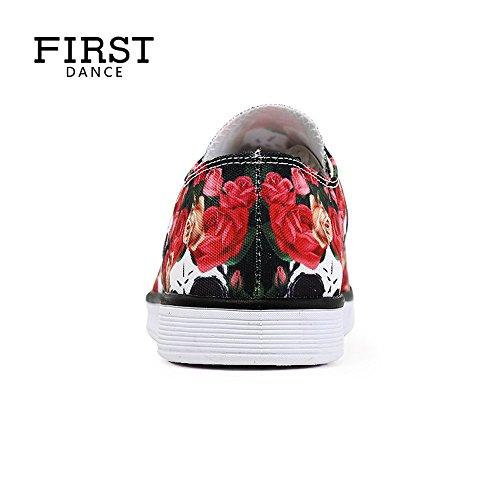 Første Dans Personlige Mote Skull & Rose Print Lerret Blonder-up Lav Top Sneaker For Kvinner