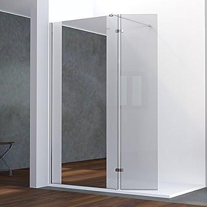 Mampara de ducha con retorno fijo 8 mm Baya – 120 + 40 cm y Espejo: Amazon.es: Hogar