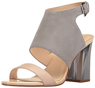 Nine West Women's Moshpit Suede Dress Sandal, Grey/Natural, 5 M US