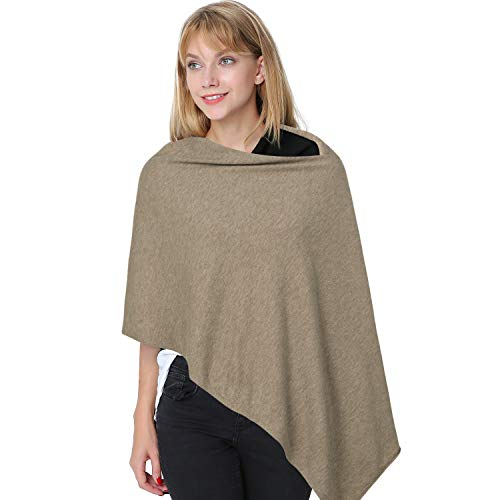 Womens Asymetrical 3-in-1 Pullover Topper Solid Faux Cashmere Poncho Scarf Cardigan -