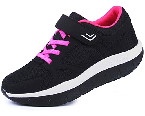 DADAWEN Women's Platform Wedges Tennis Walking Sneakers Comfortable Lightweight Casual Fitness Shoes Black US Size 5