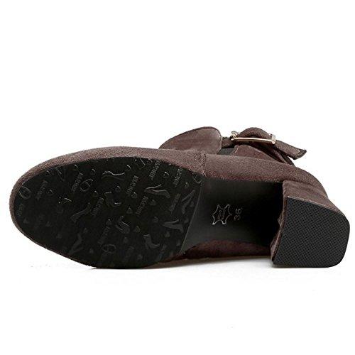 Short Winter Boots Grey Women Warm Booties Heel High KemeKiss Block Ankle Fashion TaFnw6xqz0