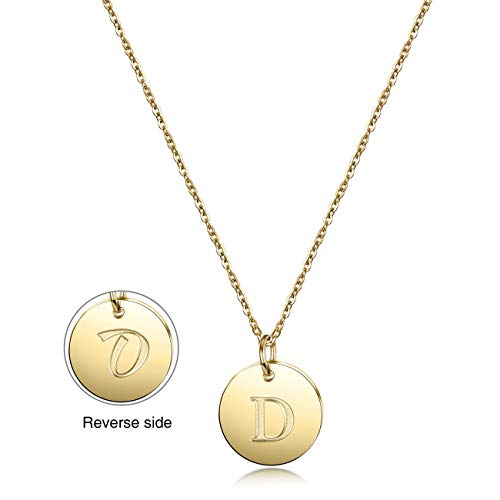 Gold Initial Necklace-14K Gold Plated Letter Necklace with Disc Heart Charm Letter Necklace, Dainty Personalized Letter Heart Necklaces with Adjustable Chain Necklace (Disc Letter:D) ()