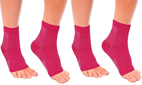 Pnk/Wht-SmMed-2Pr - Ankle Compression Socks Plantar Fasciitis Foot Sleeves for Arch Support - Increases Circulation Relieve Pain, Eases Swelling & Heel Spurs - Better Than Night Splint or ()