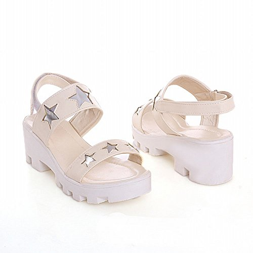Sweet Womens Star Sandals Cute Heel Beige Carolbar Pattern Mid Casual Shaped Fashion Platform Chunky qUXHdE