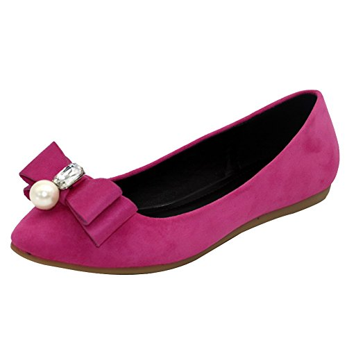 AalarDom Women's Solid Imitated Suede No-Heel Flats-Shoes with Jewels and Bows, Rosered-Jewels, 37 (Roaring 20s Attire)