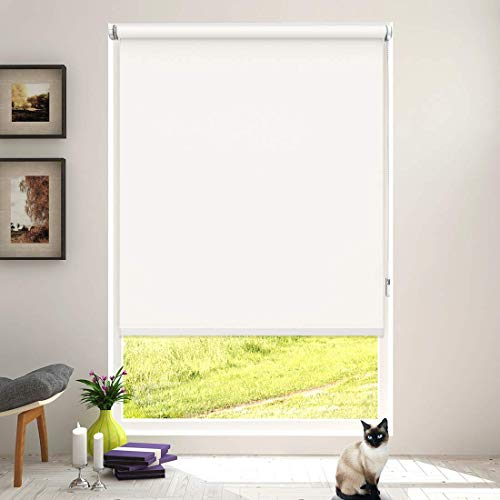 Keego Roller Shades for Windows Blackout No Drill Corded Roller Blinds Customer Cut to Size No-Tools Installation Window Shades for Bedroom and Kitchens[White 100% Blackout,46″ W x 60″ H]