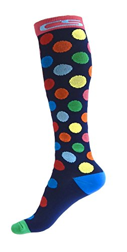Compression Socks for Men & Women - BEST Graduated Athletic Fit for Running, Nurses, Shin Splints, Flight Travel, Maternity Pregnancy - Boost Stamina, Circulation & Recovery (Cool Dots, S/M) by Cool Sox (Image #1)